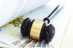 Gavel and euro. Close up Royalty Free Stock Photo
