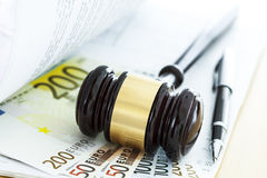 Gavel and euro Royalty Free Stock Photography