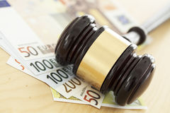 Gavel and euro Royalty Free Stock Images
