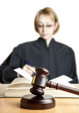 Gavel and female judge Stock Images