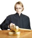 Gavel and female judge Stock Photo