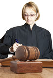 Gavel and female judge. Isolated Stock Images