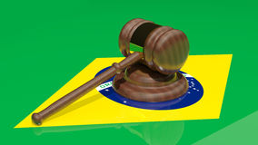 Gavel on the flag of Brazil. Judjes gavel on the flag of Brazil Stock Images