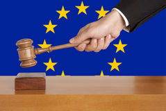 Gavel and Flag of Europe Stock Image