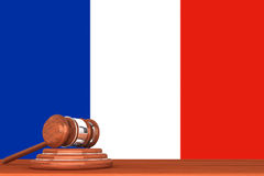 Gavel with Flag Of France Royalty Free Stock Photo