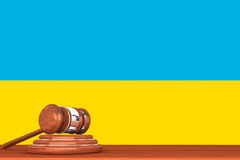 Gavel with Flag Of Ukraine Stock Image