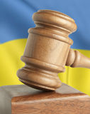 Gavel and flag Ukraine Royalty Free Stock Photo