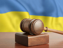 Gavel and flag Ukraine Stock Photo