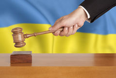 Gavel and flag Ukraine Stock Image