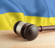 Gavel and flag Ukraine royalty free stock photography