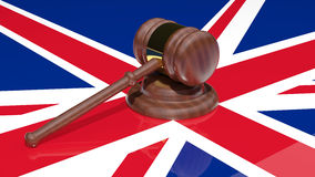 Gavel on the flag of united kingdom Stock Photo