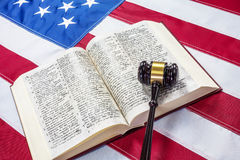 Gavel on the flag of US Royalty Free Stock Photography