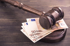 Gavel and four euro banknotes Royalty Free Stock Images