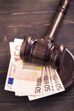 Gavel and four euro banknotes vertical Royalty Free Stock Photos