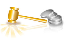 Gavel, golden hammer and coins Stock Photo