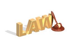 Gavel and golden paragraph lying on light background Stock Image