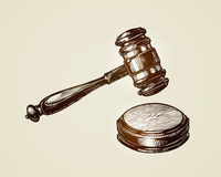 Gavel, hammer of judge or auctioneer. Sketch vector illustration Stock Image