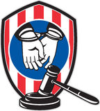 Gavel handcuff hand American stripes shield Royalty Free Stock Image