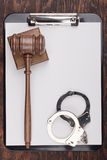 Gavel and Handcuffs Royalty Free Stock Photo