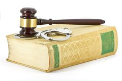 Gavel, handcuffs and book Royalty Free Stock Photos