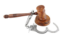 Gavel and handcuffs isolated Royalty Free Stock Photo