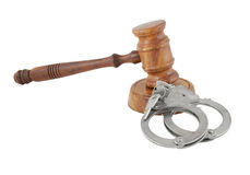Gavel and handcuffs with keys isolated Royalty Free Stock Photography