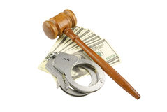 Gavel, handcuffs and money Royalty Free Stock Image