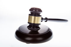 Gavel. A hardwood gavel against a white background Royalty Free Stock Photo