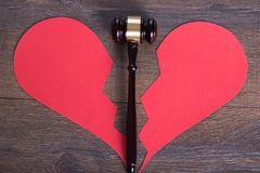 Gavel and heart in divorce concept Stock Image