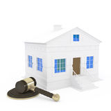 Gavel and home. 3d illustration Royalty Free Stock Photo