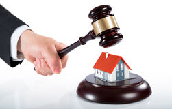 Gavel on house Stock Photography