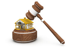 Gavel with house Royalty Free Stock Photography