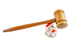 Gavel with house isolated Stock Photo
