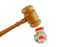 Gavel with house isolated Royalty Free Stock Images
