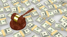 Gavel on a huge pile of us dollar Stock Photography