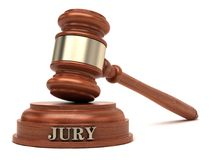 Jury Judge Gavel Court Trial. Gavel and jury text on sound block stock photography