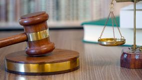 Gavel in Justice Court stock photography