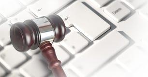 Gavel and keyboard. Digital composite of Gavel and keyboard Stock Image