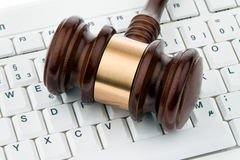 Gavel and keyboard.Legal certainty on the Internet Stock Photo