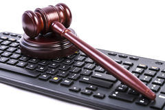 Gavel and keyboard Stock Photo