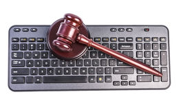 Gavel and keyboard Royalty Free Stock Photography