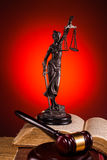 Gavel, lady of justice and old book Royalty Free Stock Image