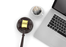 Gavel, laptop and coffee. On white Stock Photo