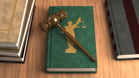 Gavel on a law book. With other legal books on the table. Conceptual illustration Stock Photo
