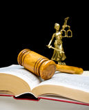 Gavel on law book on a black background. vertical photo. Royalty Free Stock Images
