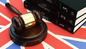 Gavel And Law Book On Flag 3d Render. Gavel And Law Book On England Flag 3d Stock Photo