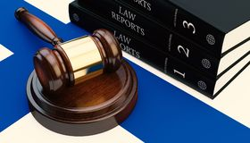 Gavel And Law Book On Flag 3d Render. Gavel And Law Book On Finland Flag 3d Stock Images