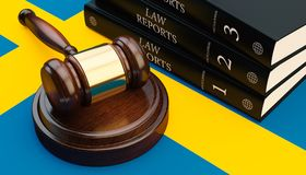 Gavel And Law Book On Flag 3d Render. Gavel And Law Book On Sweden Flag 3d Royalty Free Stock Images