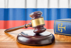 Gavel and a law book - Russia royalty free stock images