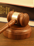 Gavel & Law Books. Book is slightly out of focus royalty free stock images